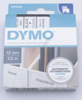 Farvebånd Sort På Transparent 12mm/7m Dymo D1-band